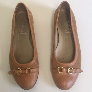 AGL tan woven leather Toe flats
